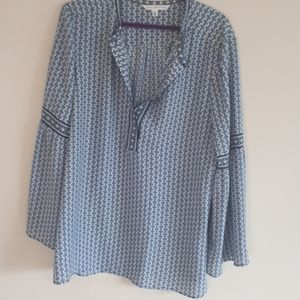 Max Studio blue patterned tunic with bell sleeves